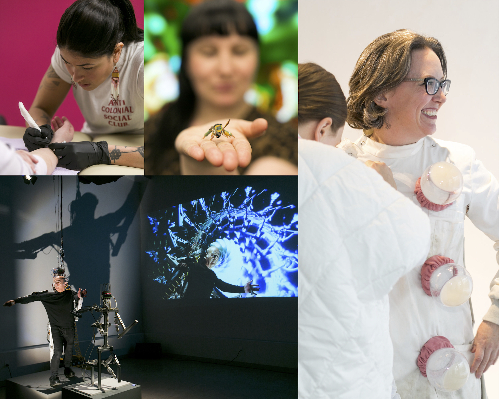 """IOTA Institute's Bio Art Series, 2019, artists depicted (clockwise): Earthline Tattoo Collective (participant: Quill Christie-Peters), Ruth Marsh """"Cyberhive"""", Jennifer Willet """"Untitled: Travelling Laboratory Coat"""", Stelarc """"StickMan/miniStickMan"""", photo credit: Chantal Routhier Photography"""